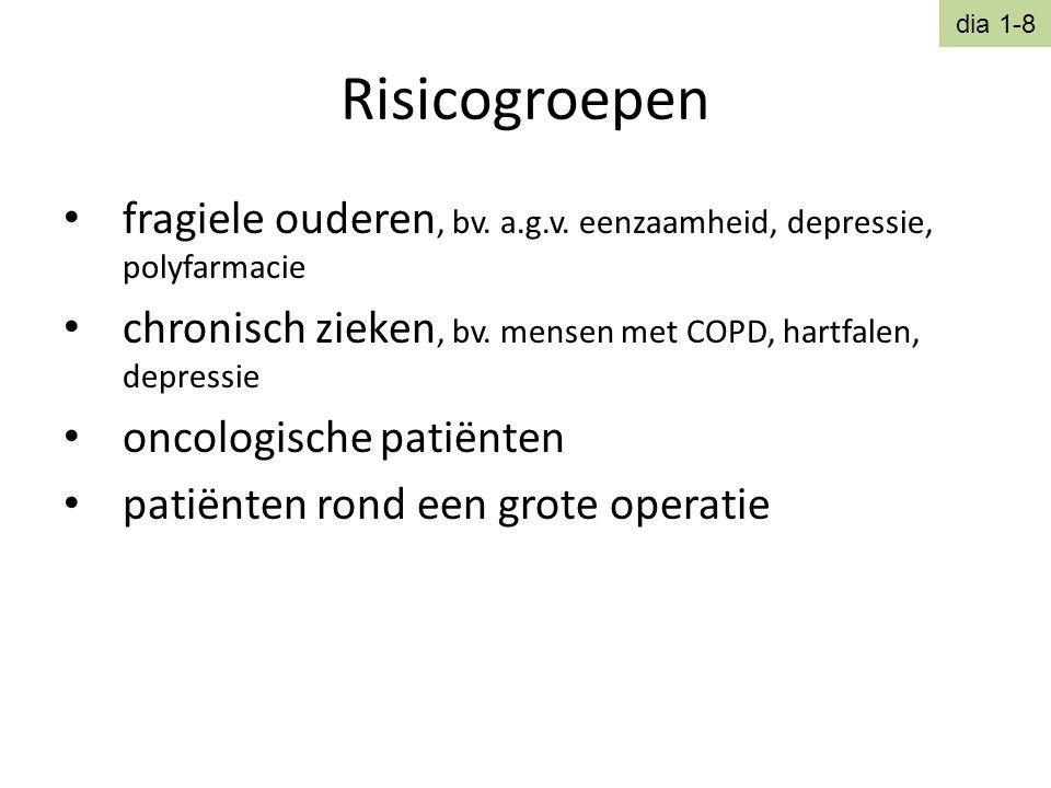 Risicogroepen • fragiele ouderen, bv. a.g.v. eenzaamheid, depressie, polyfarmacie • chronisch zieken, bv. mensen met COPD, hartfalen, depressie • onco