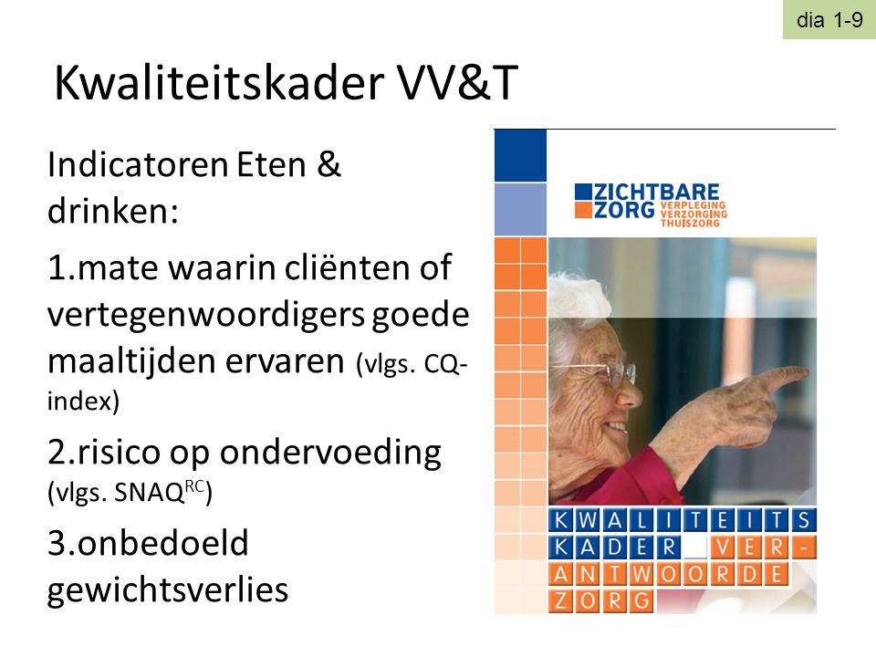 Kwaliteitskader VV&T Indicatoren Eten & drinken: 1.mate waarin cliënten of vertegenwoordigers goede maaltijden ervaren (vlgs. CQ- index) 2.risico op o