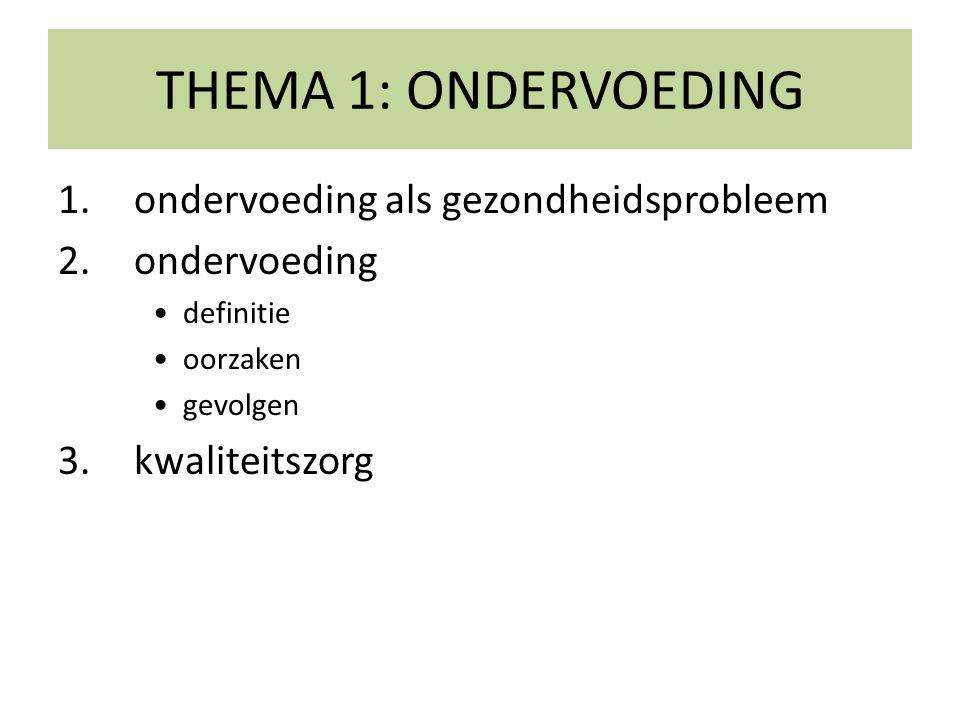THEMA 1: ONDERVOEDING 1.ondervoeding als gezondheidsprobleem 2.ondervoeding •definitie •oorzaken •gevolgen 3.kwaliteitszorg