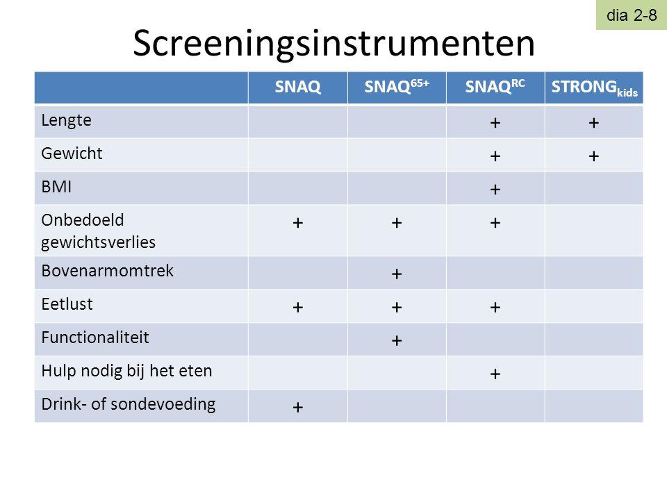 Screeningsinstrumenten SNAQSNAQ 65+ SNAQ RC STRONG kids Lengte ++ Gewicht ++ BMI + Onbedoeld gewichtsverlies +++ Bovenarmomtrek + Eetlust +++ Function