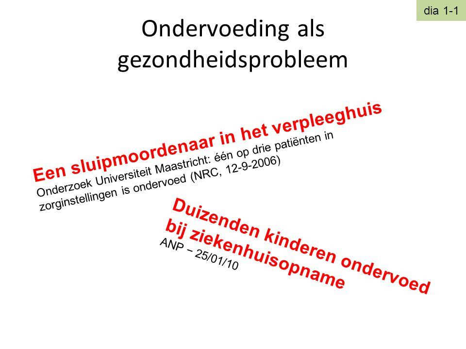 Ondervoeding als gezondheidsprobleem Een sluipmoordenaar in het verpleeghuis Onderzoek Universiteit Maastricht: één op drie patiënten in zorginstellin