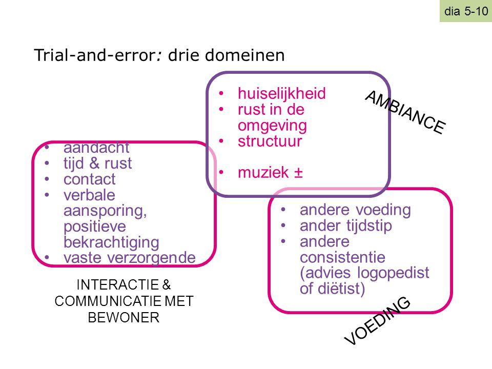 Trial-and-error: drie domeinen •aandacht •tijd & rust •contact •verbale aansporing, positieve bekrachtiging •vaste verzorgende •andere voeding •ander