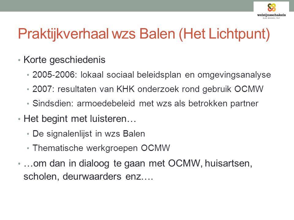 Praktijkverhaal wzs Balen (Het Lichtpunt) • Korte geschiedenis • 2005-2006: lokaal sociaal beleidsplan en omgevingsanalyse • 2007: resultaten van KHK