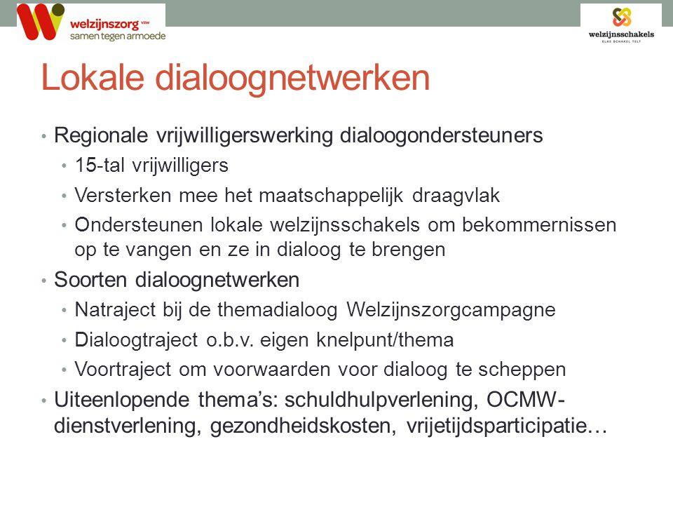 Lokale dialoognetwerken • Regionale vrijwilligerswerking dialoogondersteuners • 15-tal vrijwilligers • Versterken mee het maatschappelijk draagvlak •