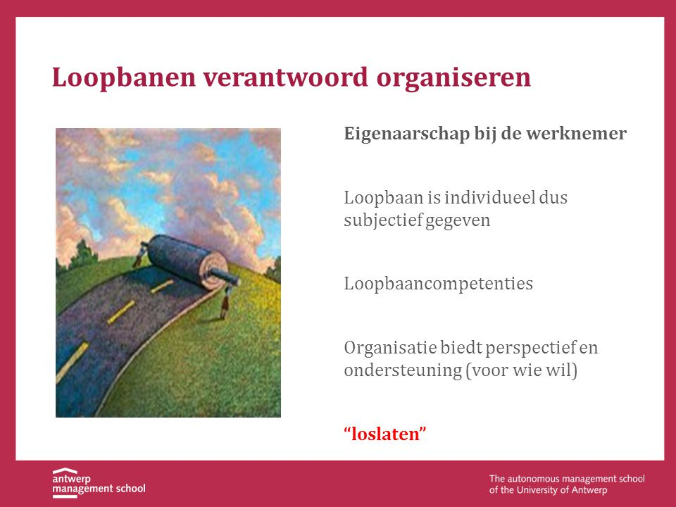 Loopbanen verantwoord organiseren Eigenaarschap bij de werknemer Loopbaan is individueel dus subjectief gegeven Loopbaancompetenties Organisatie biedt