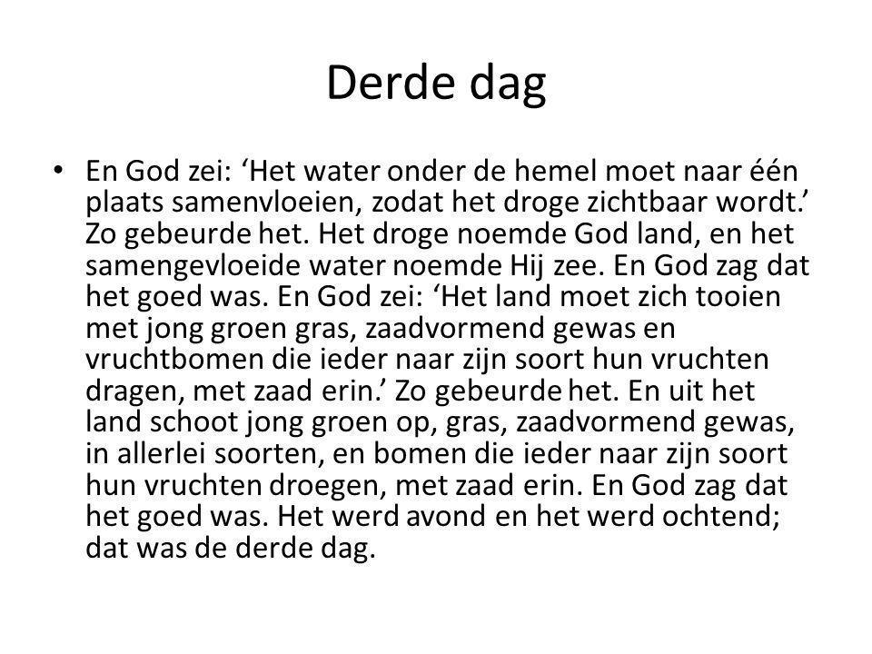Derde dag • En God zei: 'Het water onder de hemel moet naar één plaats samenvloeien, zodat het droge zichtbaar wordt.' Zo gebeurde het. Het droge noem