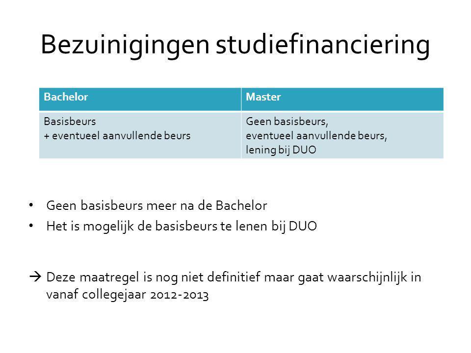 Bezuinigingen studiefinanciering (2) • Terugbetaaltermijn van lening bij DUO van 15 naar 20 jaar.