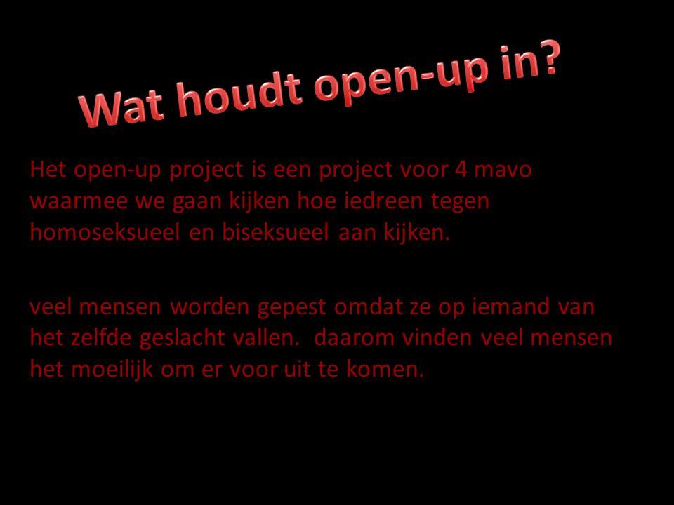 Het open-up project is een project voor 4 mavo waarmee we gaan kijken hoe iedreen tegen homoseksueel en biseksueel aan kijken.