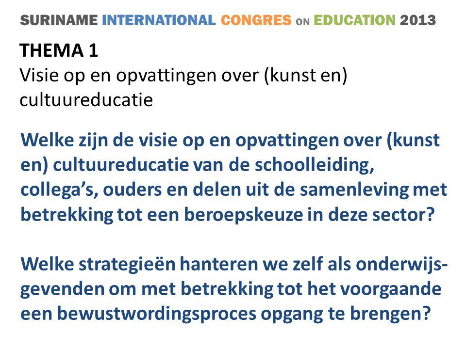 SURINAME INTERNATIONAL CONGRES ON EDUCATION 2013 THEMA 1 Visie op en opvattingen over (kunst en) cultuureducatie Welke zijn de visie op en opvattingen over (kunst en) cultuureducatie van de schoolleiding, collega's, ouders en delen uit de samenleving met betrekking tot een beroepskeuze in deze sector.