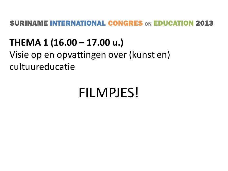 SURINAME INTERNATIONAL CONGRES ON EDUCATION 2013 THEMA 1 Visie op en opvattingen over (kunst en) cultuureducatie Welke beroepen?
