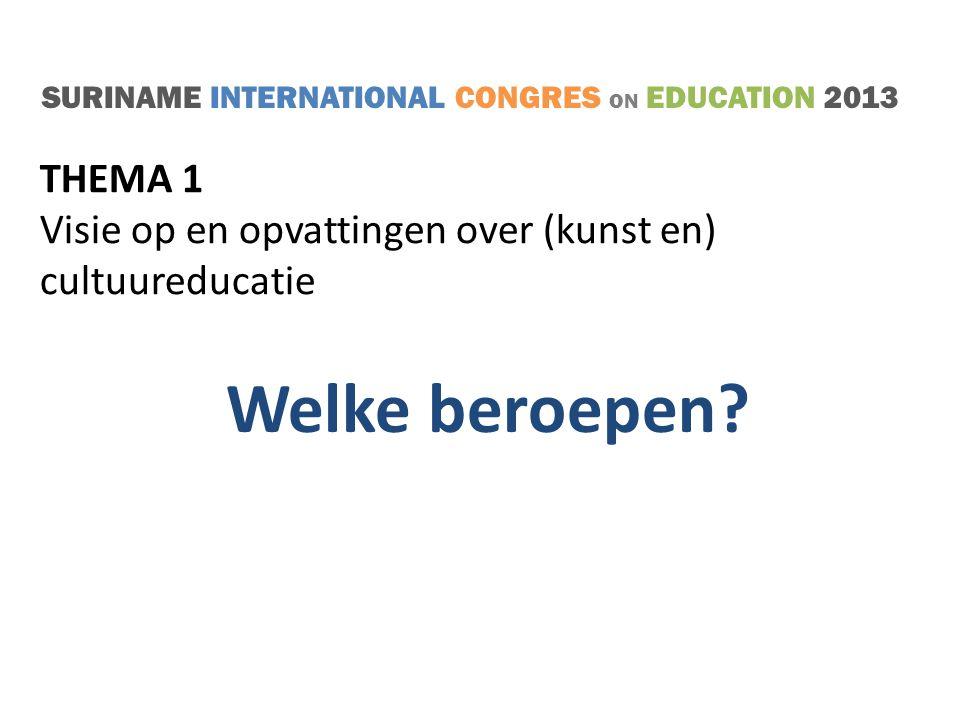 SURINAME INTERNATIONAL CONGRES ON EDUCATION 2013 THEMA 1 (16.00 – 17.00 u.) Visie op en opvattingen over (kunst en) cultuureducatie DISCUSSIE VOORSTELLEN/AANBEVELINGEN SLUITING!