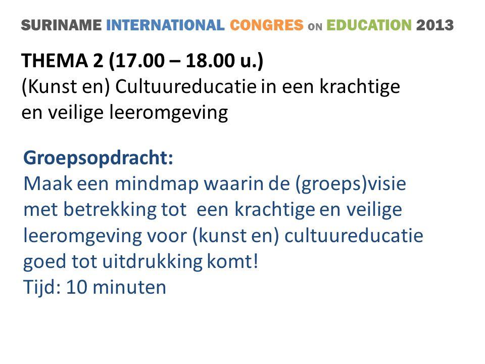 SURINAME INTERNATIONAL CONGRES ON EDUCATION 2013 THEMA 2 (17.00 – 18.00 u.) (Kunst en) Cultuureducatie in een krachtige en veilige leeromgeving Groepsopdracht: Maak een mindmap waarin de (groeps)visie met betrekking tot een krachtige en veilige leeromgeving voor (kunst en) cultuureducatie goed tot uitdrukking komt.