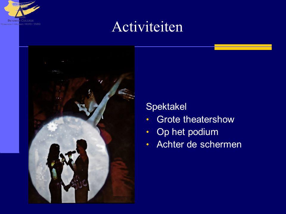Activiteiten Spektakel • Grote theatershow • Op het podium • Achter de schermen