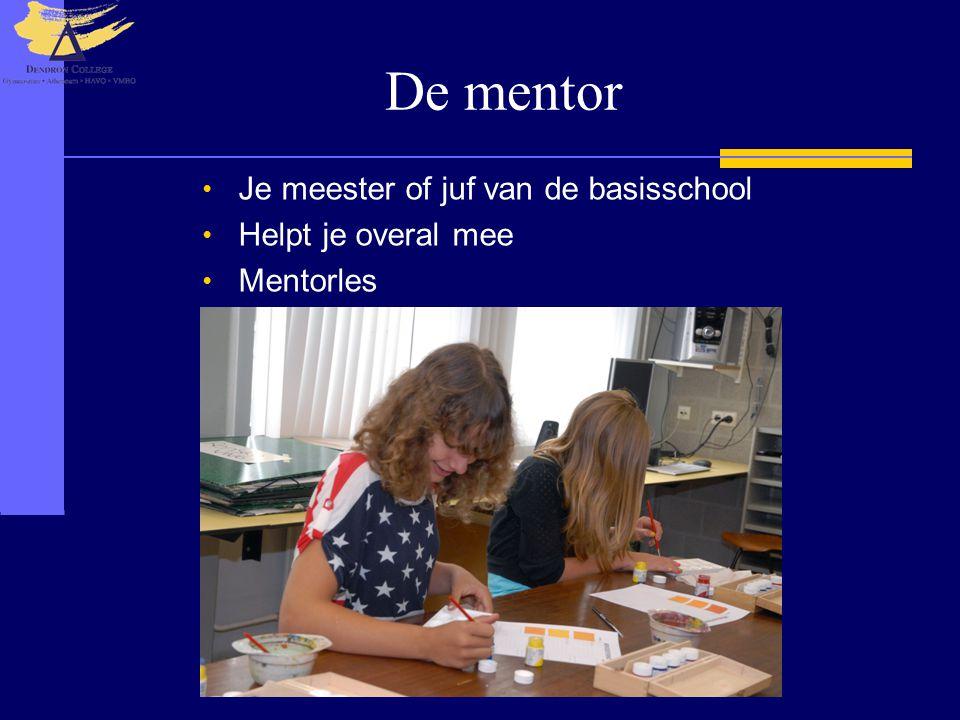 De mentor • Je meester of juf van de basisschool • Helpt je overal mee • Mentorles