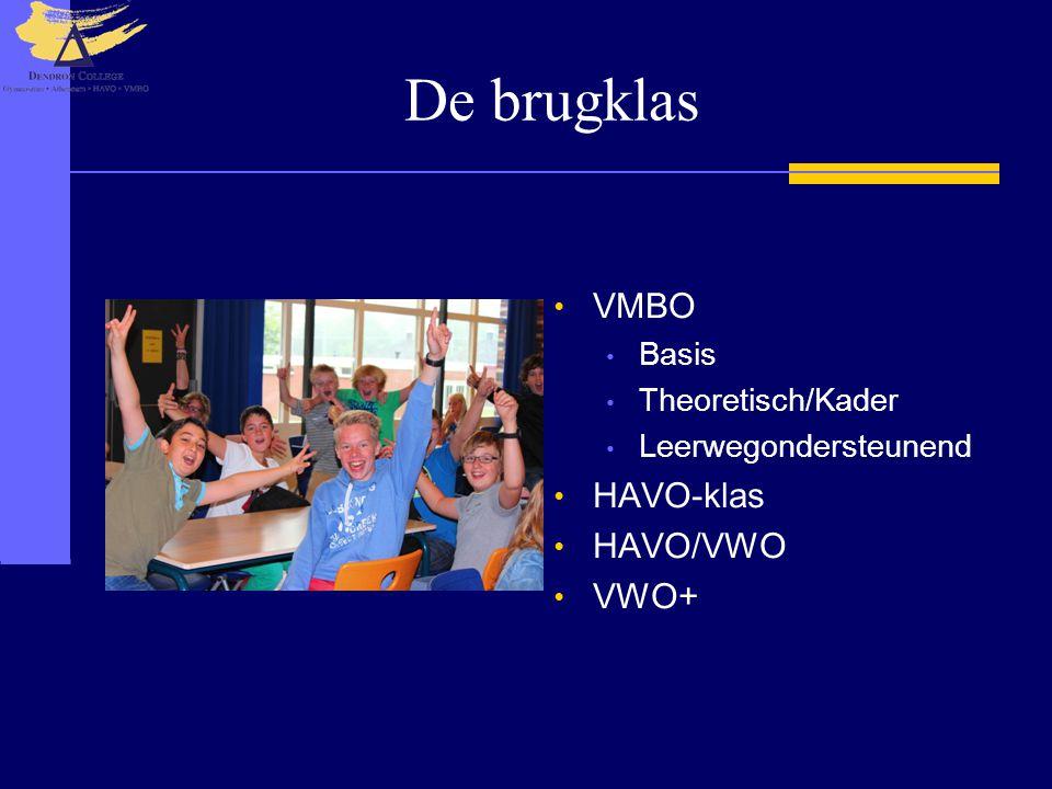 De brugklas • VMBO • Basis • Theoretisch/Kader • Leerwegondersteunend • HAVO-klas • HAVO/VWO • VWO+