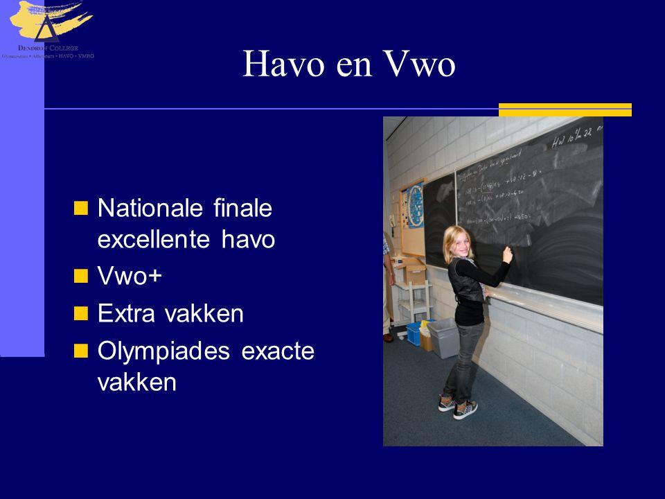 Havo en Vwo  Nationale finale excellente havo  Vwo+  Extra vakken  Olympiades exacte vakken