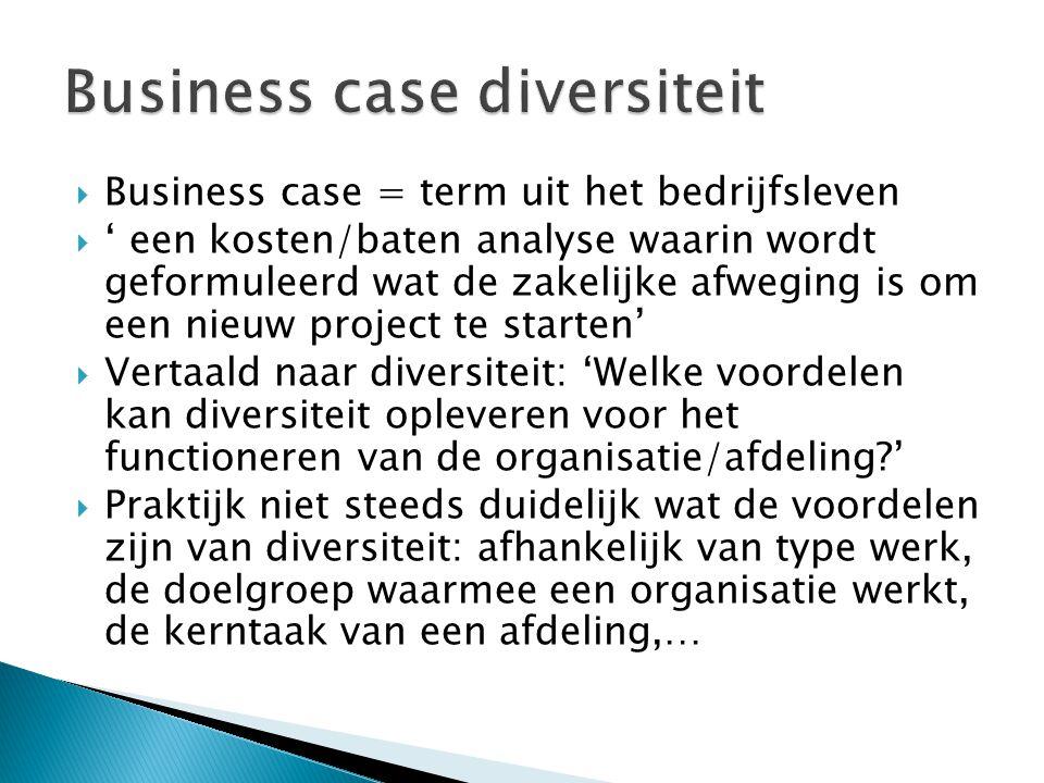  Business case = term uit het bedrijfsleven  ' een kosten/baten analyse waarin wordt geformuleerd wat de zakelijke afweging is om een nieuw project te starten'  Vertaald naar diversiteit: 'Welke voordelen kan diversiteit opleveren voor het functioneren van de organisatie/afdeling '  Praktijk niet steeds duidelijk wat de voordelen zijn van diversiteit: afhankelijk van type werk, de doelgroep waarmee een organisatie werkt, de kerntaak van een afdeling,…