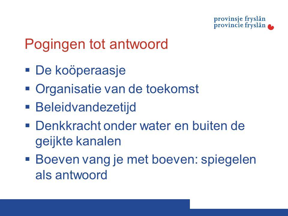 Pogingen tot antwoord  De koöperaasje  Organisatie van de toekomst  Beleidvandezetijd  Denkkracht onder water en buiten de geijkte kanalen  Boeve