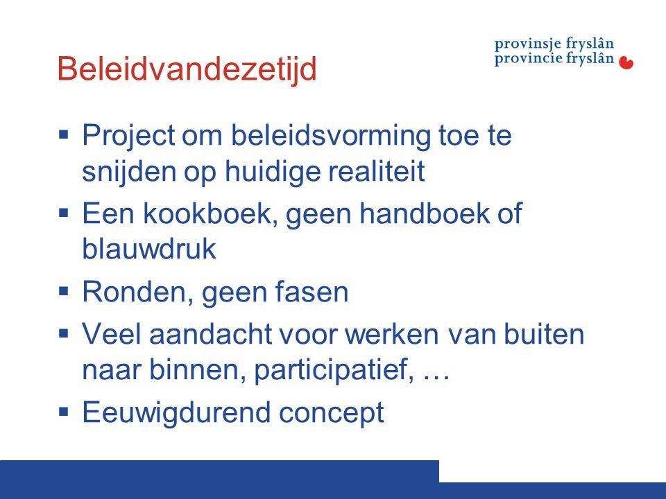 Beleidvandezetijd  Project om beleidsvorming toe te snijden op huidige realiteit  Een kookboek, geen handboek of blauwdruk  Ronden, geen fasen  Ve