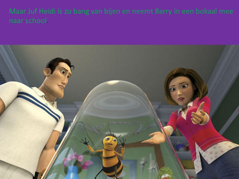 Maar Juf Heidi is zo bang van bijen en neemt Barry in een bokaal mee naar school.