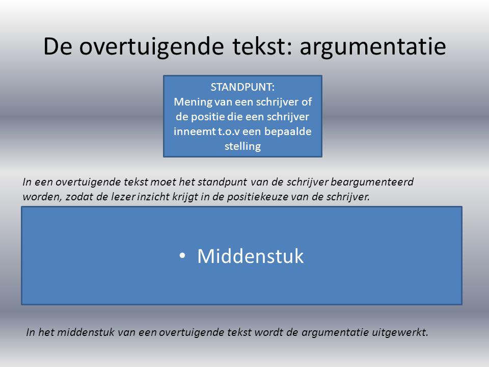 De overtuigende tekst: argumentatie In schema kan een overtuigende tekst er als volgt uitzien: STANDPUNT ARGUMENT 1 + ONDERSTEUNING ARGUMENT 2 + ONDERSTEUNING ARGUMENT 3 + ONDERSTEUNING