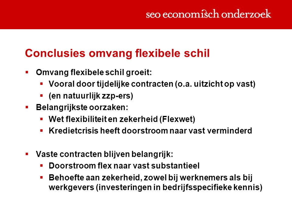 Conclusies omvang flexibele schil  Omvang flexibele schil groeit:  Vooral door tijdelijke contracten (o.a.
