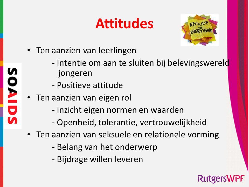 Attitudes • Ten aanzien van leerlingen - Intentie om aan te sluiten bij belevingswereld jongeren - Positieve attitude • Ten aanzien van eigen rol - In