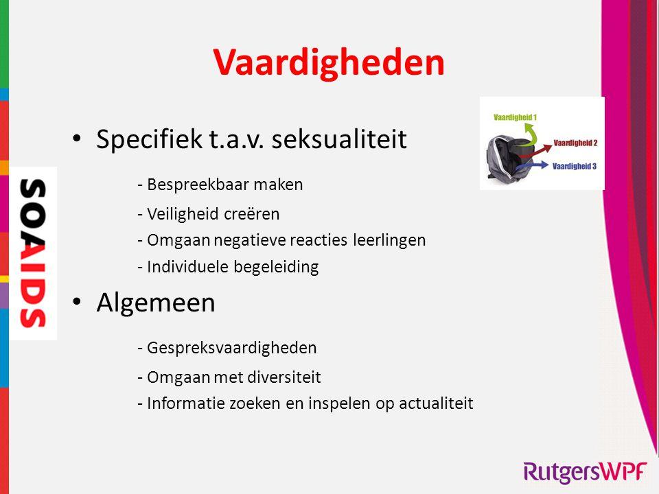 Vaardigheden • Specifiek t.a.v. seksualiteit - Bespreekbaar maken - Veiligheid creëren - Omgaan negatieve reacties leerlingen - Individuele begeleidin