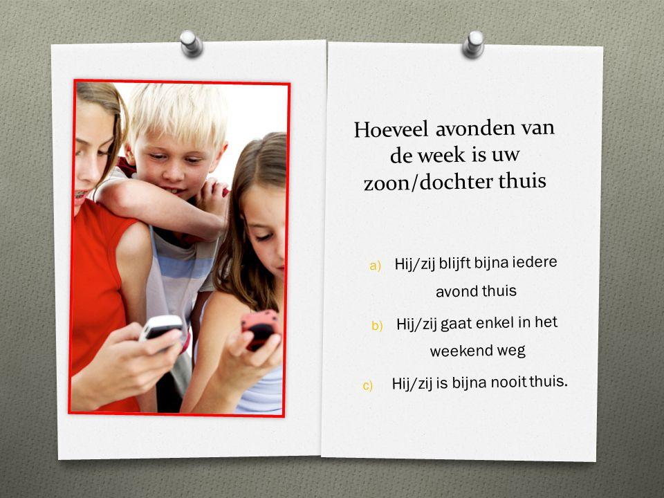 Hoeveel avonden van de week is uw zoon/dochter thuis a) a) Hij/zij blijft bijna iedere avond thuis b) b) Hij/zij gaat enkel in het weekend weg c) c) H