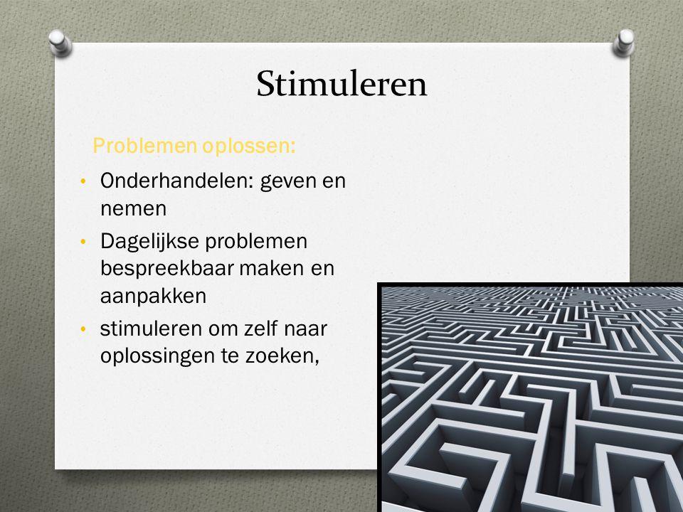 Stimuleren Problemen oplossen: • Onderhandelen: geven en nemen • Dagelijkse problemen bespreekbaar maken en aanpakken • stimuleren om zelf naar oploss