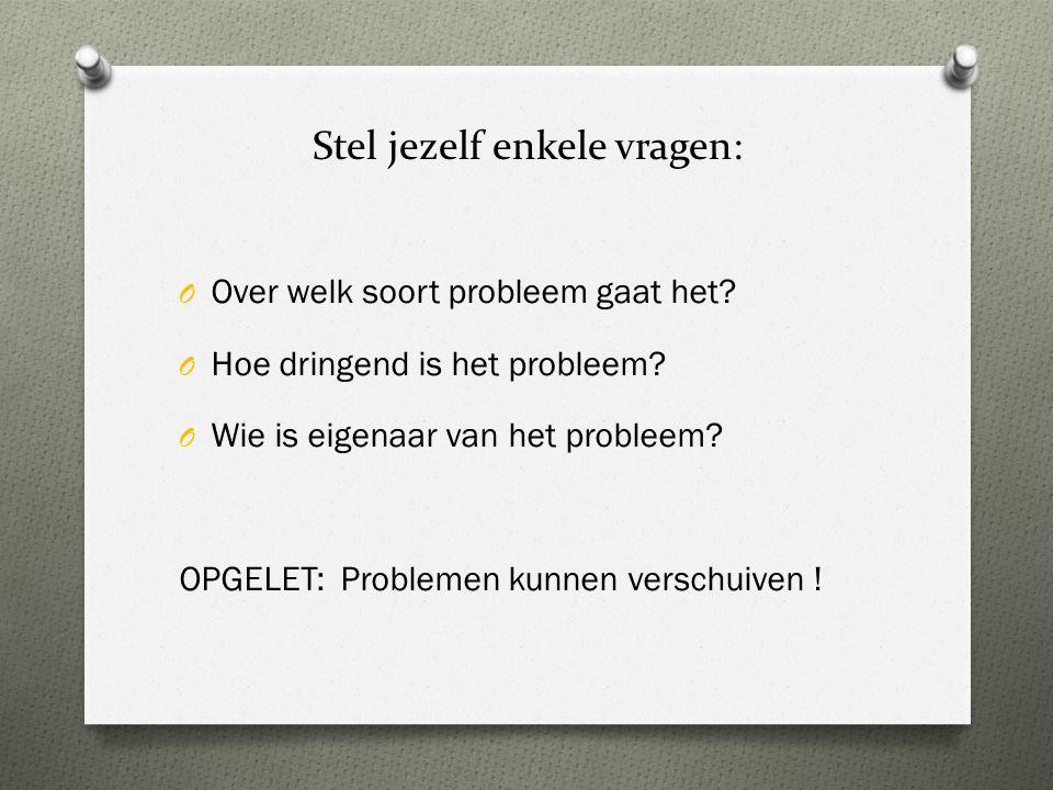 Stel jezelf enkele vragen: O Over welk soort probleem gaat het? O Hoe dringend is het probleem? O Wie is eigenaar van het probleem? OPGELET: Problemen