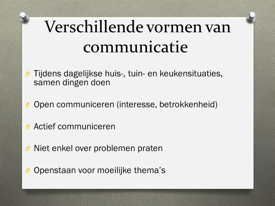 Verschillende vormen van communicatie O Tijdens dagelijkse huis-, tuin- en keukensituaties, samen dingen doen O Open communiceren (interesse, betrokke