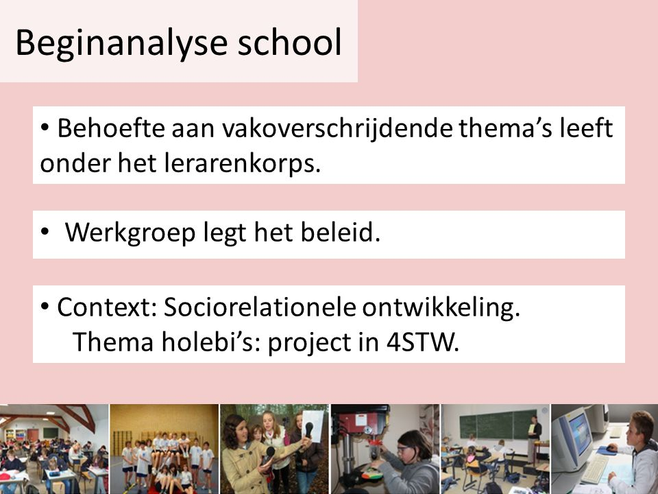 Beginanalyse school • Werkgroep legt het beleid. • Behoefte aan vakoverschrijdende thema's leeft onder het lerarenkorps. • Context: Sociorelationele o