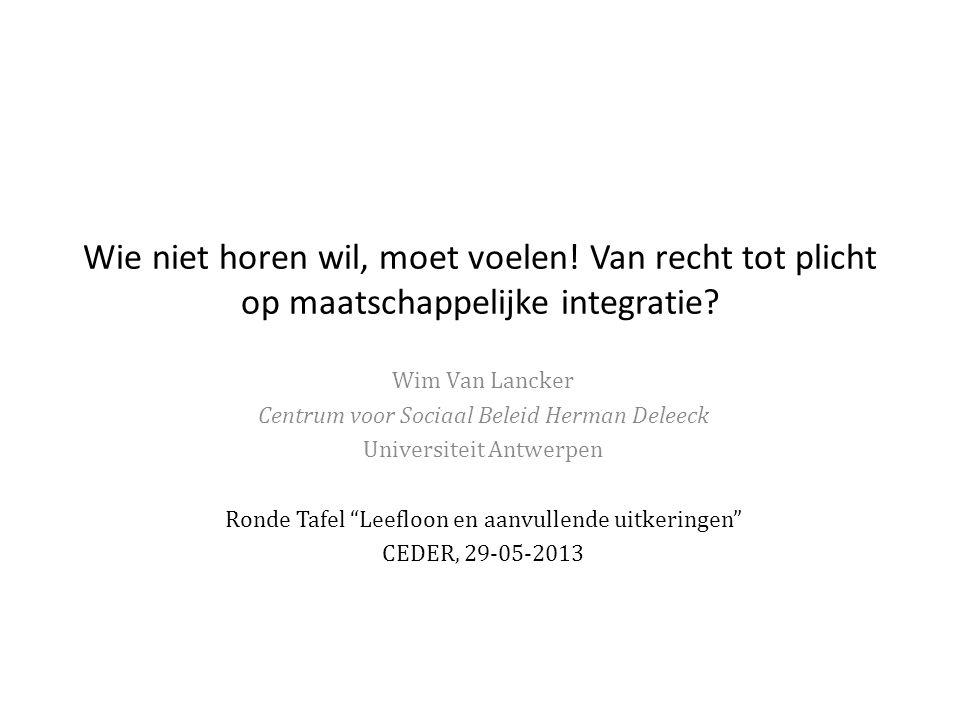Wie niet horen wil, moet voelen! Van recht tot plicht op maatschappelijke integratie? Wim Van Lancker Centrum voor Sociaal Beleid Herman Deleeck Unive