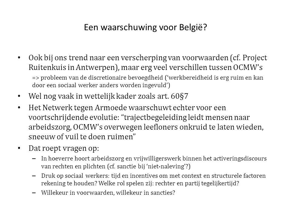 Een waarschuwing voor België.• Ook bij ons trend naar een verscherping van voorwaarden (cf.