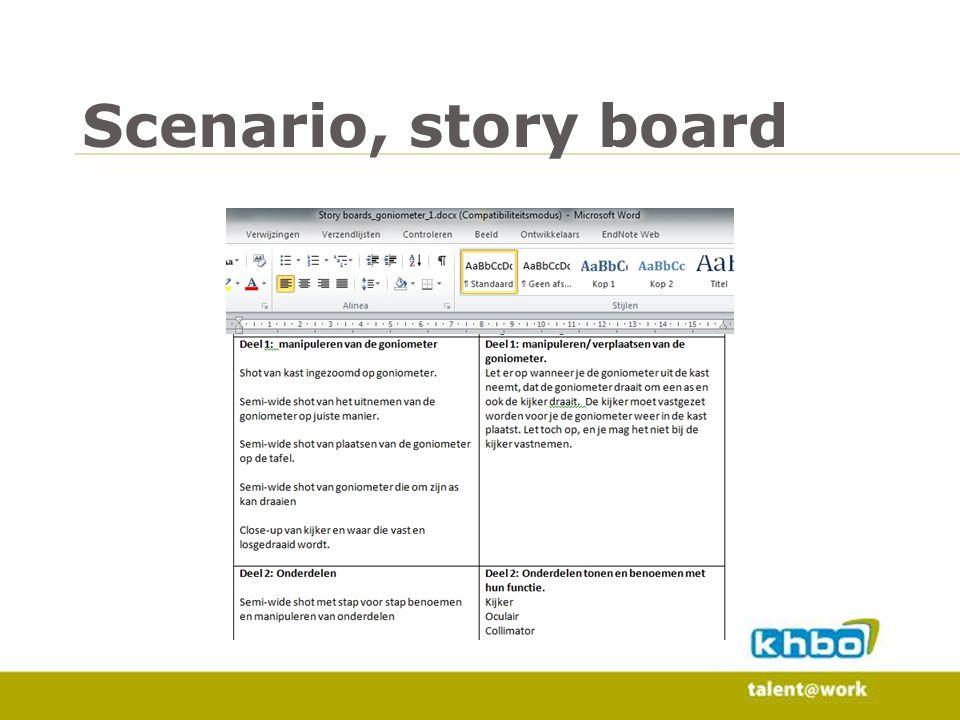 Scenario, story board