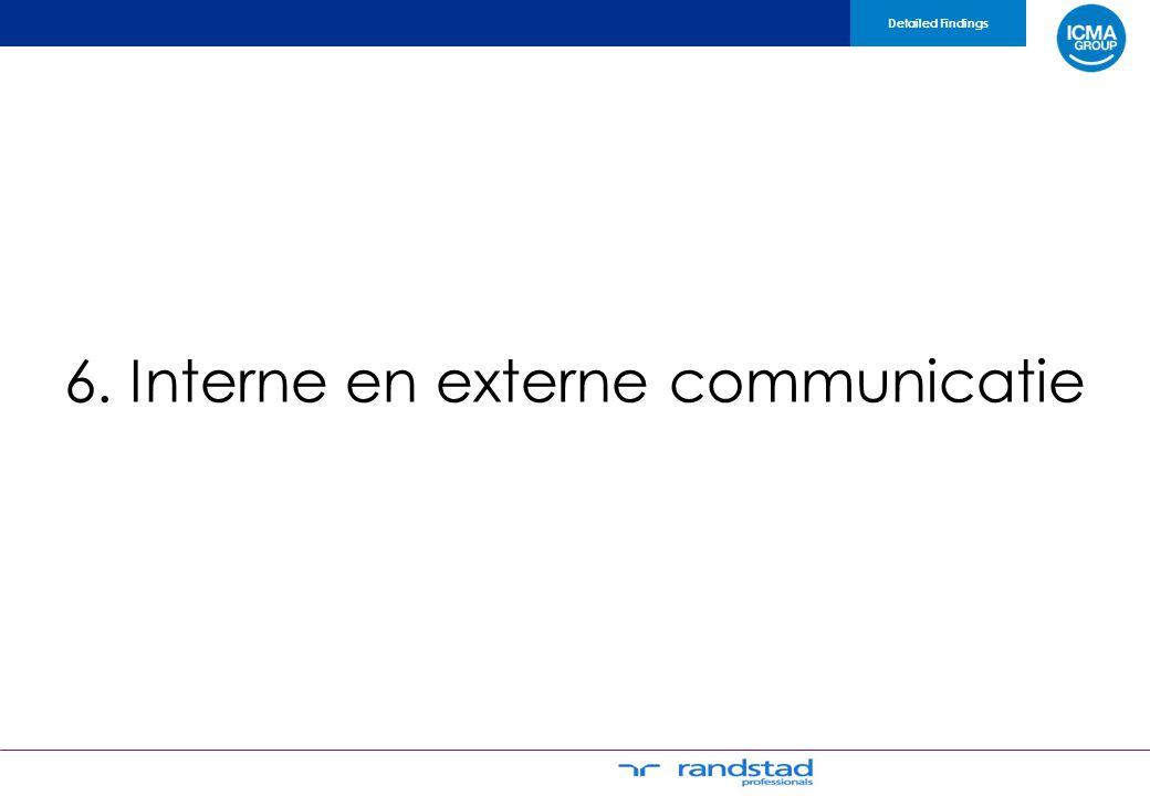 6. Interne en externe communicatie Detailed Findings