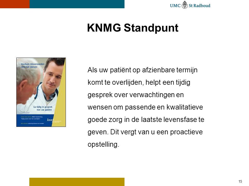 KNMG Standpunt 15 Als uw patiënt op afzienbare termijn komt te overlijden, helpt een tijdig gesprek over verwachtingen en wensen om passende en kwalitatieve goede zorg in de laatste levensfase te geven.