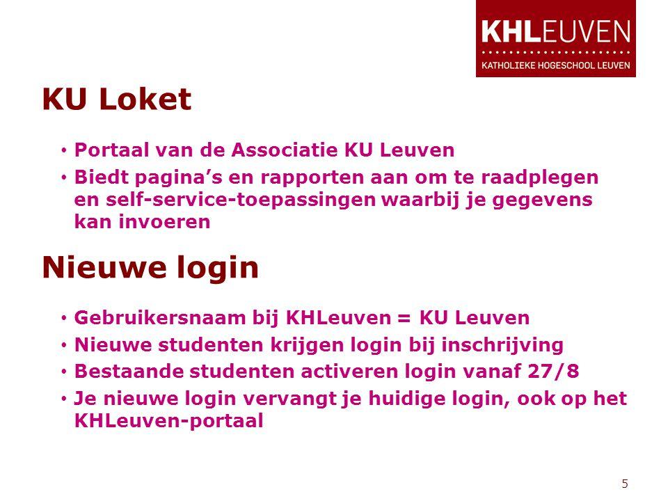 KU Loket • Gebruikersnaam bij KHLeuven = KU Leuven • Nieuwe studenten krijgen login bij inschrijving • Bestaande studenten activeren login vanaf 27/8 • Je nieuwe login vervangt je huidige login, ook op het KHLeuven-portaal 5 Nieuwe login • Portaal van de Associatie KU Leuven • Biedt pagina's en rapporten aan om te raadplegen en self-service-toepassingen waarbij je gegevens kan invoeren