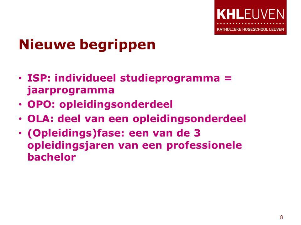 Nieuwe begrippen • ISP: individueel studieprogramma = jaarprogramma • OPO: opleidingsonderdeel • OLA: deel van een opleidingsonderdeel • (Opleidings)fase: een van de 3 opleidingsjaren van een professionele bachelor 8