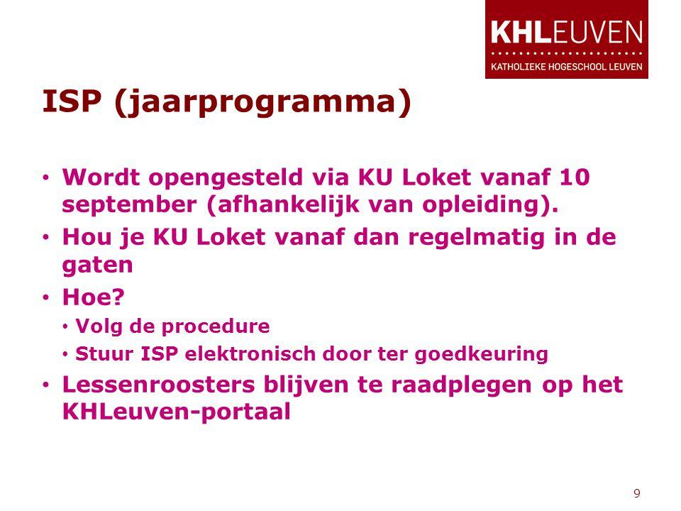 ISP (jaarprogramma) • Wordt opengesteld via KU Loket vanaf 10 september (afhankelijk van opleiding). • Hou je KU Loket vanaf dan regelmatig in de gate