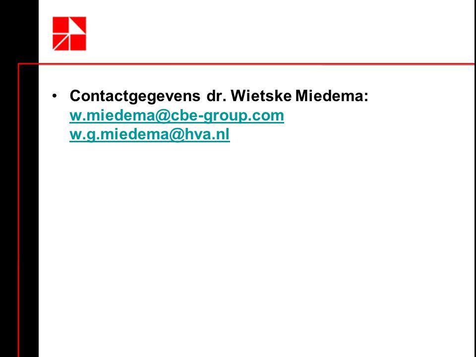 •Contactgegevens dr. Wietske Miedema: w.miedema@cbe-group.com w.g.miedema@hva.nl w.miedema@cbe-group.com w.g.miedema@hva.nl