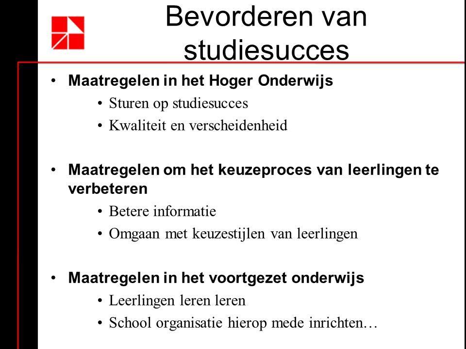 Bevorderen van studiesucces •Maatregelen in het Hoger Onderwijs •Sturen op studiesucces •Kwaliteit en verscheidenheid •Maatregelen om het keuzeproces