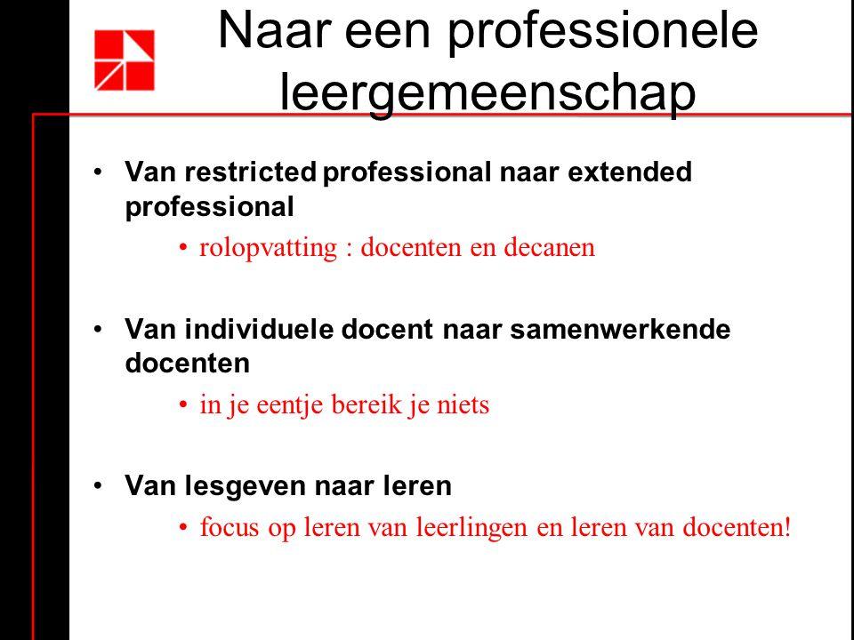 Naar een professionele leergemeenschap •Van restricted professional naar extended professional •rolopvatting : docenten en decanen •Van individuele do