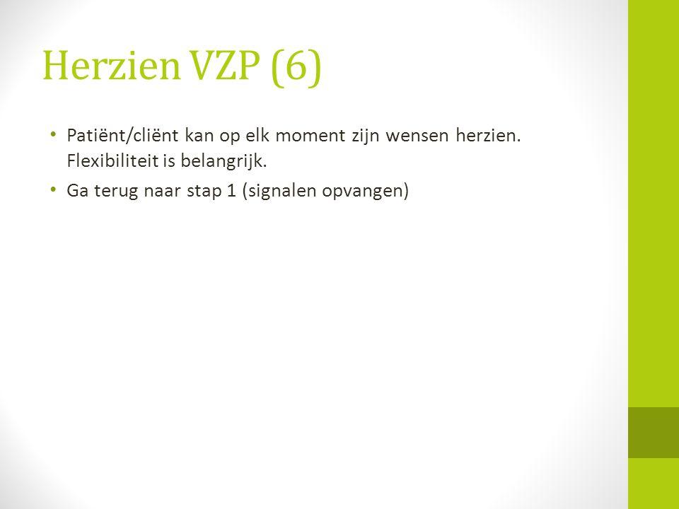 Herzien VZP (6) • Patiënt/cliënt kan op elk moment zijn wensen herzien. Flexibiliteit is belangrijk. • Ga terug naar stap 1 (signalen opvangen)