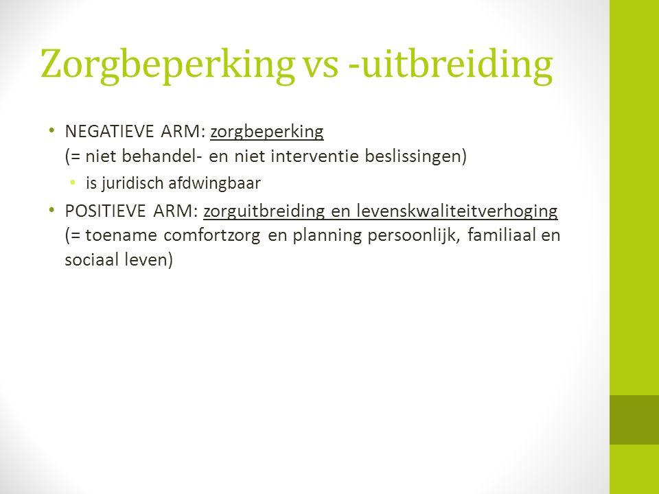 Zorgbeperking vs -uitbreiding • NEGATIEVE ARM: zorgbeperking (= niet behandel- en niet interventie beslissingen) • is juridisch afdwingbaar • POSITIEV