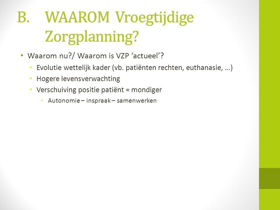 • Waarom nu?/ Waarom is VZP 'actueel'? • Evolutie wettelijk kader (vb. patiënten rechten, euthanasie, …) • Hogere levensverwachting • Verschuiving pos