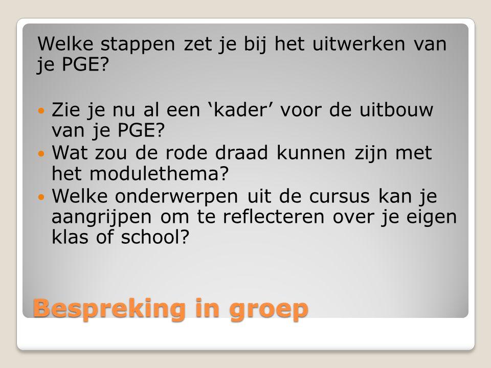 Bespreking in groep Welke stappen zet je bij het uitwerken van je PGE.