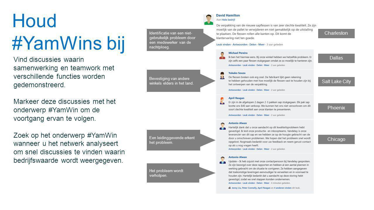 Houd #YamWins bij Vind discussies waarin samenwerking en teamwork met verschillende functies worden gedemonstreerd.
