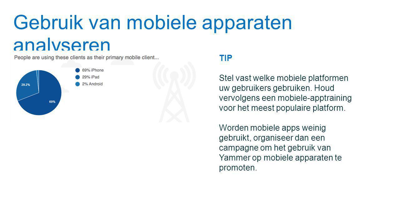 Gebruik van mobiele apparaten analyseren TIP Stel vast welke mobiele platformen uw gebruikers gebruiken.